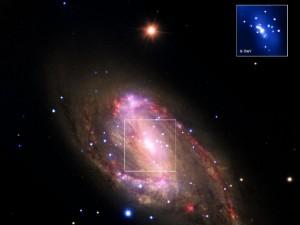 Spiraaligalaksi 30 miljoonan valovuoden päässä. Kuva on kooste useamman laitteen keräämästä aineistosta. Keskellä on voimakkaan säteilyn keskus, jonka aiheuttaa valtava musta aukko.Herra, emme paljon ymmärrä sinun luomistöistäsi, mutta kiitos, että kerrot meille kaiken tarpeellisen nyt - ja myöhemmin lisää! Kuva: NASA