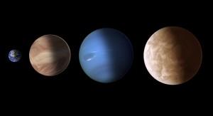 Tässä on kokovertailua havaittujen kaasuplaneettojen kesken - Maa vasemmalla. Kuva on kuitenkin vielä taiteilijan tekemä. Kuva: ESA Hubble.