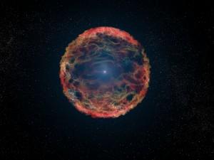 Taiteilijan näkemys supernovasta eli tähden räjähdyksestä. Taiteilija on pyrkinyt kuvaamaan galaksissa M81 vuonna 1993 tapahtuneen räjähdyksen. Kuva: ESA Hubble.